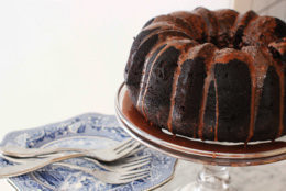 This Jan. 18, 2016 photo shows chocolate Guinness cake with chocolate Guinness glaze in Concord, N.H. The glaze is an essential part of the cake, as you poke holes in the cake when it is still warm and slowly spoon the glaze over the cake until the holes are filled with it. (AP Photo/Matthew Mead)