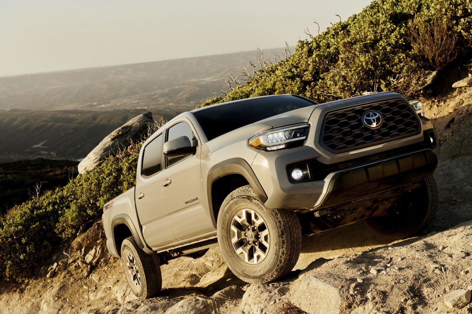This photo undated provided by Toyota shows the Toyota Tacoma TRD Off-Road, an example of a truck equipped with an off-road package. The TRD Off-Road trim level includes upgraded hardware and software to enhance its abilities in varying terrain. Some comfort-related features are also included. (Chris Delorenzo/Toyota Motor Sales U.S.A. via AP)