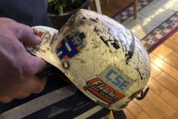 Retired coal miner John Robinson displays his mining helmet at his home in Coeburn, Va., on Thursday, Jan. 24, 2019. Robinson was 47 when he was diagnosed with black lung disease, part of a new generation of black lung sufferers who are contracting the deadly disease at younger ages. (AP Photo/Dylan Lovan)