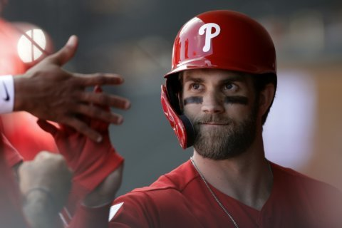 Phillies star Harper hit by pitch, exits with bruised foot
