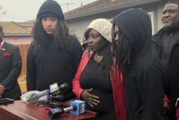 CORRECTS BYLINE TO KATHLEEN RONAYNE INSTEAD OF RICH PEDRONCELLI - Sequette Clark, center, the mother of police shooting victim Stephon Clark, discusses the decision not to prosecute the two Sacramento Police officers involved, during a news conference in Sacramento, Calif., Saturday, March 2, 2019. Sacramento County District Attorney Anne Marie Schubert said that Officers Terrance Mercadal and Jared Robinet did not break any laws when they shot Stephon Clark, 22, and no charges will be filed against them. (AP Photo/Kathleen Ronayne)