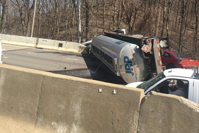 A listener photo shows fuel leaking from the top of the tanker on March 28. Officials say no fuel made it into the Potomac River below. (Courtesy Brian Starling)