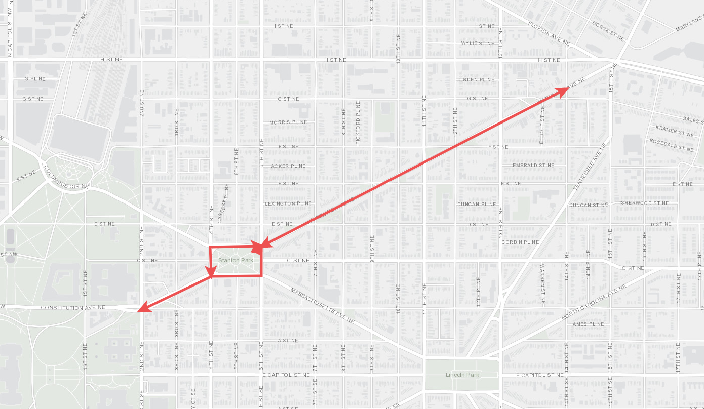 A map depicting the stretch of Maryland Avenue included in the reconstruction project. (Courtesy DDOT)
