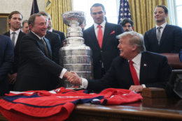 WASHINGTON, DC - MARCH 25:  U.S. President Donald Trump shakes hands with National Hockey League commissioner Gary Bettman during an Oval Office event at the White House March 25, 2019 in Washington, DC. President Trump hosted the Washington Capitals to honor their 2018 Stanley Cup championship. (Photo by Alex Wong/Getty Images)
