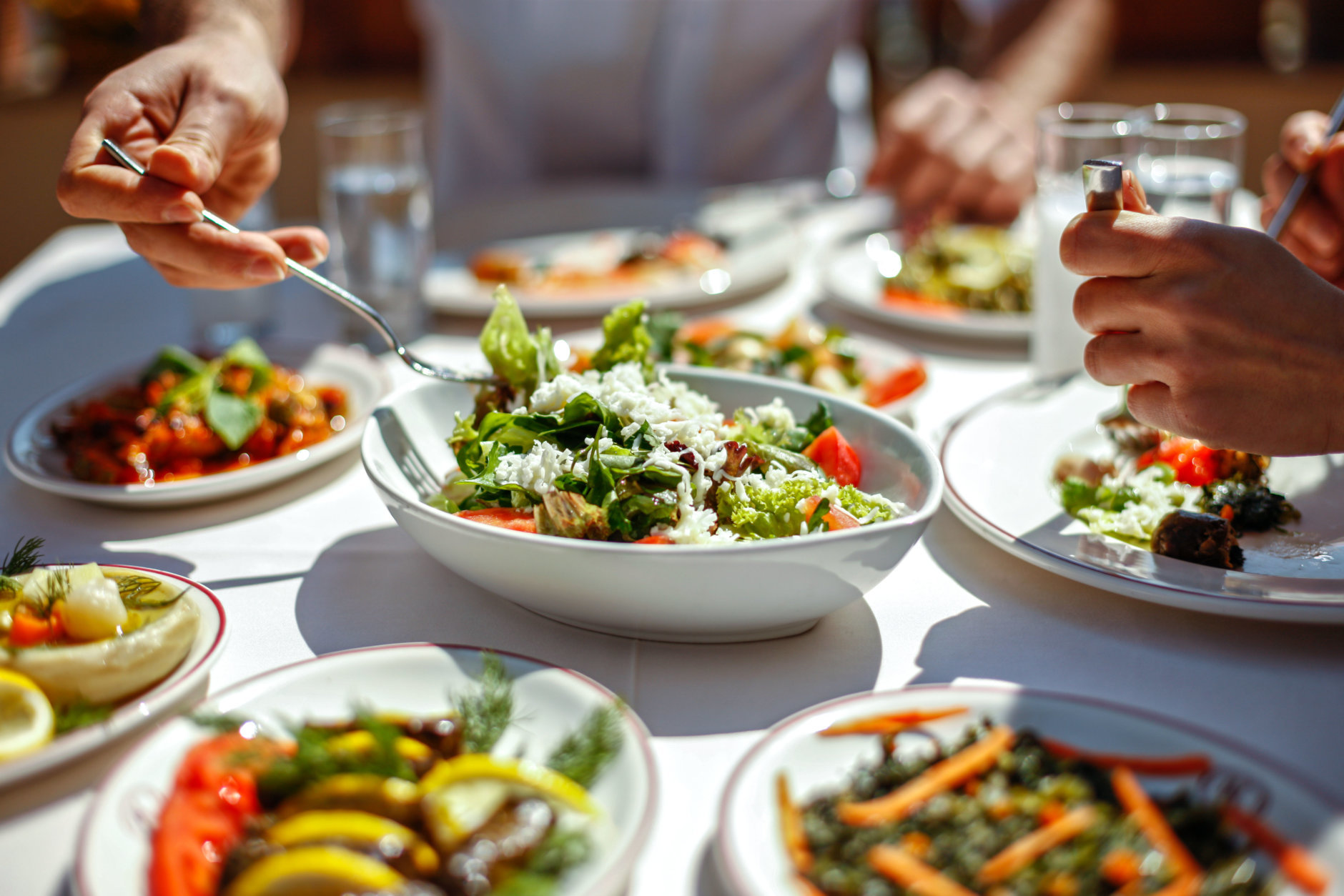 Couple  Eating Lunch with Fresh Salad and Appetizers