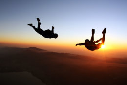 Amazing skydiving at the sunset