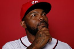 WEST PALM BEACH, FLORIDA - FEBRUARY 22:  Howie Kendrick #47 of the Washington Nationals poses for a portrait on Photo Day at FITTEAM Ballpark of The Palm Beaches during on February 22, 2019 in West Palm Beach, Florida. (Photo by Michael Reaves/Getty Images)
