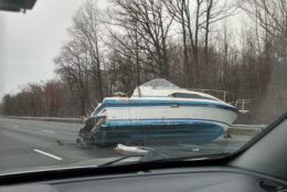 The boat blocked at least three lanes of the Inner Loop Monday.(Courtesy Jeff Thompson)