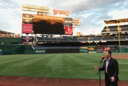Another anthem singer performs during open auditions at Nationals Park. (WTOP/Michelle Basch)