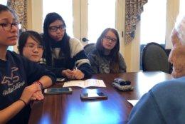 Hilda Wasdin, 86, with Melanie Salas,14; Song Nguyen,14; Angie Aguilar-Bu,13; and Shana MacNeil,13. (WTOP/Kristi King)