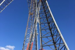 A worker was stranded on a radio tower 120 feet above the ground in D.C. (DC Fire and EMS/Twitter)