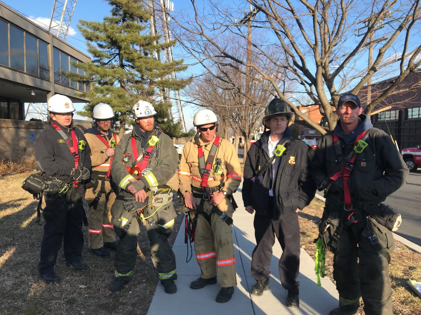 DC Firefighter rescue team that planned and executed the rescue of the stranded tower worker. (WTOP/Dick Uliano)