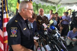 Montgomery County Police Chief Tom Manger addresses reporters after a break in the Lyon sisters case in July 2015. (WTOP/Kate Ryan)