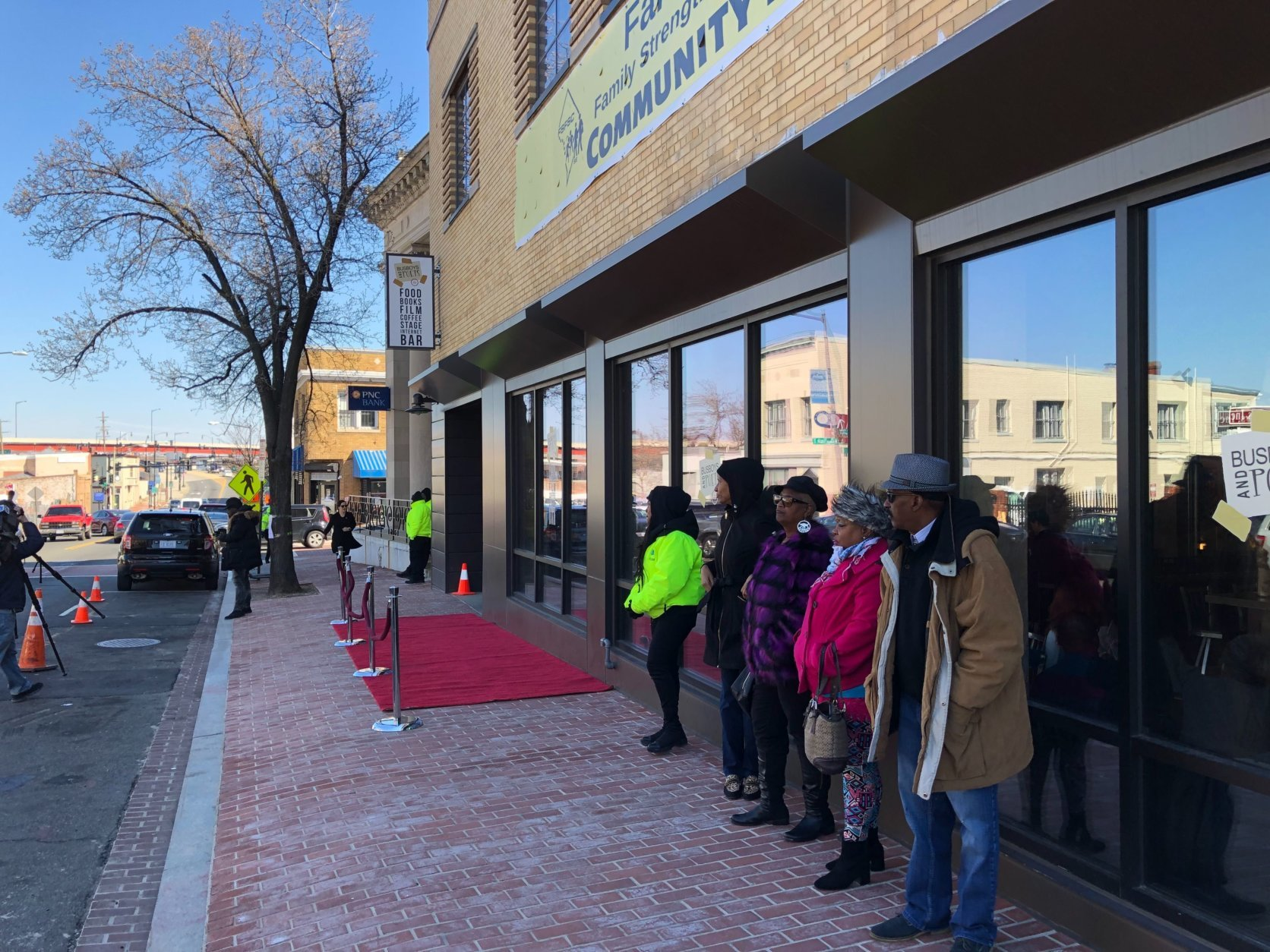 The new Busboys and Poets location in Southeast is literally rolling out the red carpet for its underserved Ward 8 community. (WTOP/Kristi King)