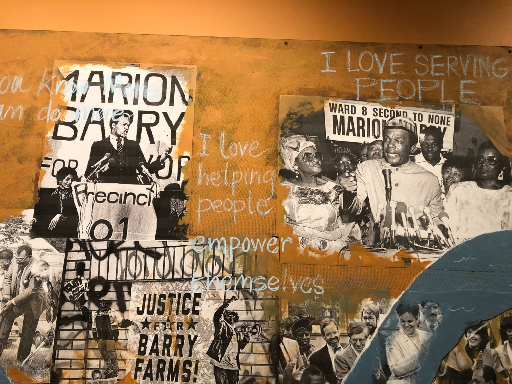 Multiple murals at the Busboys and Poets in Southeast are still works in progress. (WTOP/Kristi King)