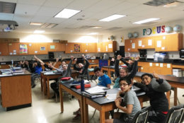 Students at Lunsford Middle School celebrate after learning they won first prize in the 2019 Clicks for Kids competition. (Courtesy Carrie Simms)