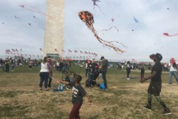 Visitors and D.C. locals alike fly kites and take in the sites of the cherry blossoms in front of the Washington Monument.(WTOP/Melissa Howell)