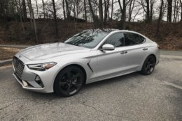 The newly-styled Genesis G70 takes aim at other luxury sport sedans. (WTOP/Mike Parris)