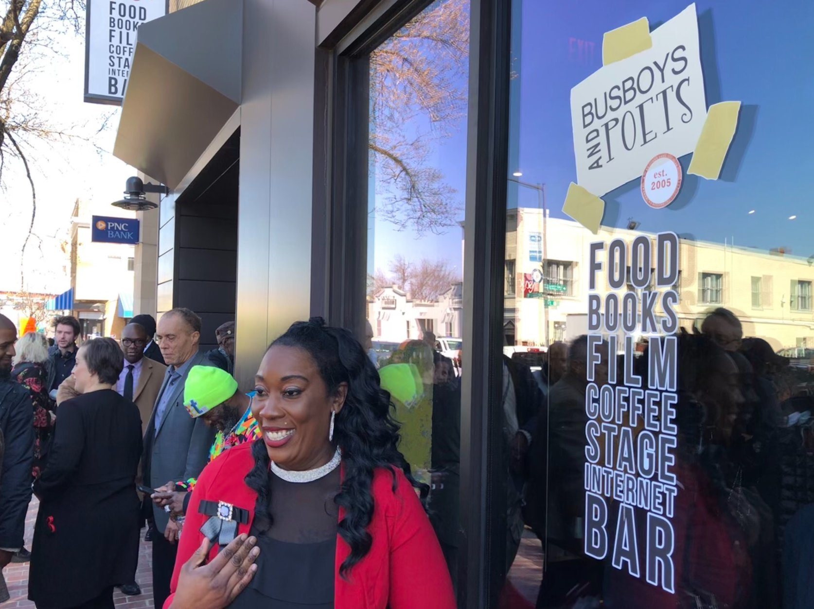 Ward 8 resident Robin McKinney is delighted to now have a second sit down restaurant in the area. Busboys and Poets will open its first location in Southeast. (WTOP/Kristi King)