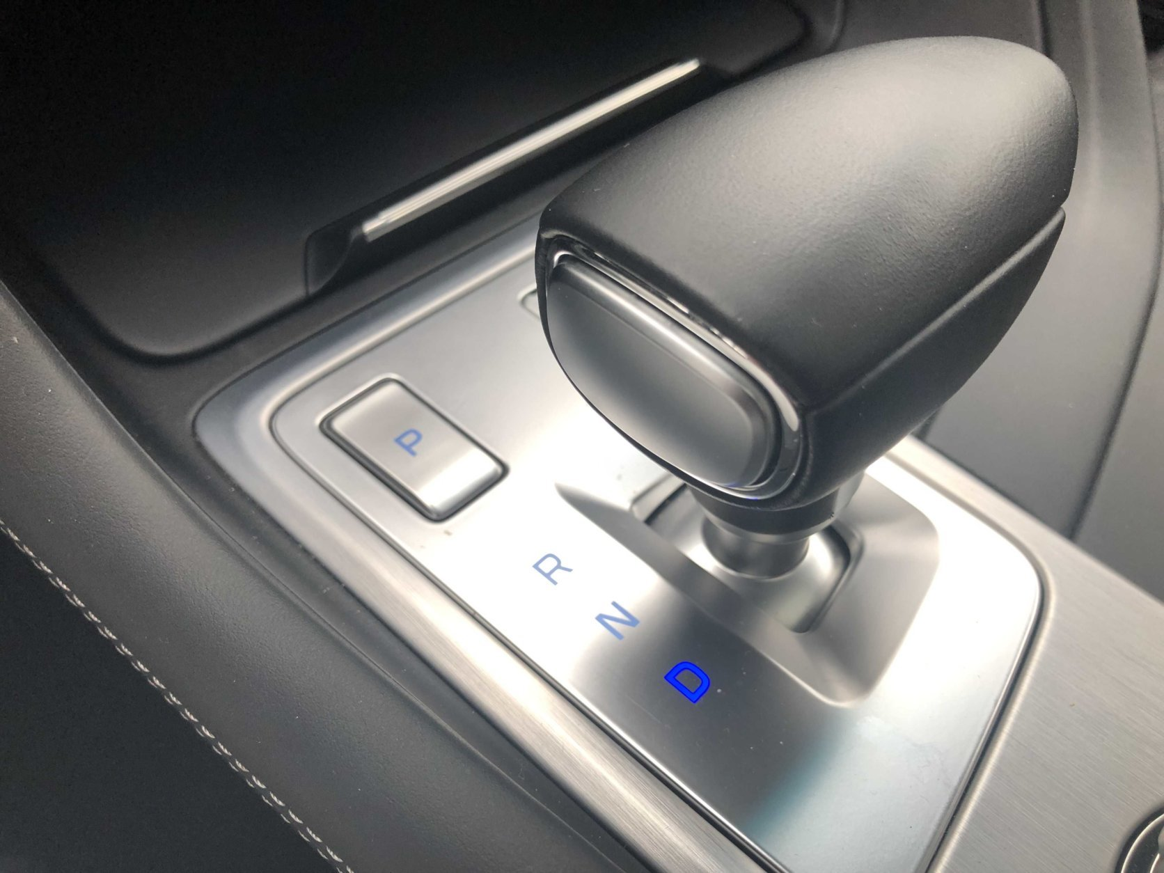 New style shift by wire shifter changes the normal park at the top to a push button. (WTOP/Mike Parris)
