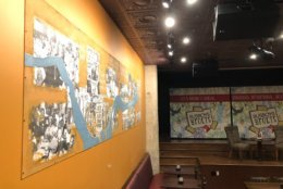 "The mural in the ""Marion Barry room"" at Busboys and Poets is still a work in progress. (WTOP/Kristi King)"