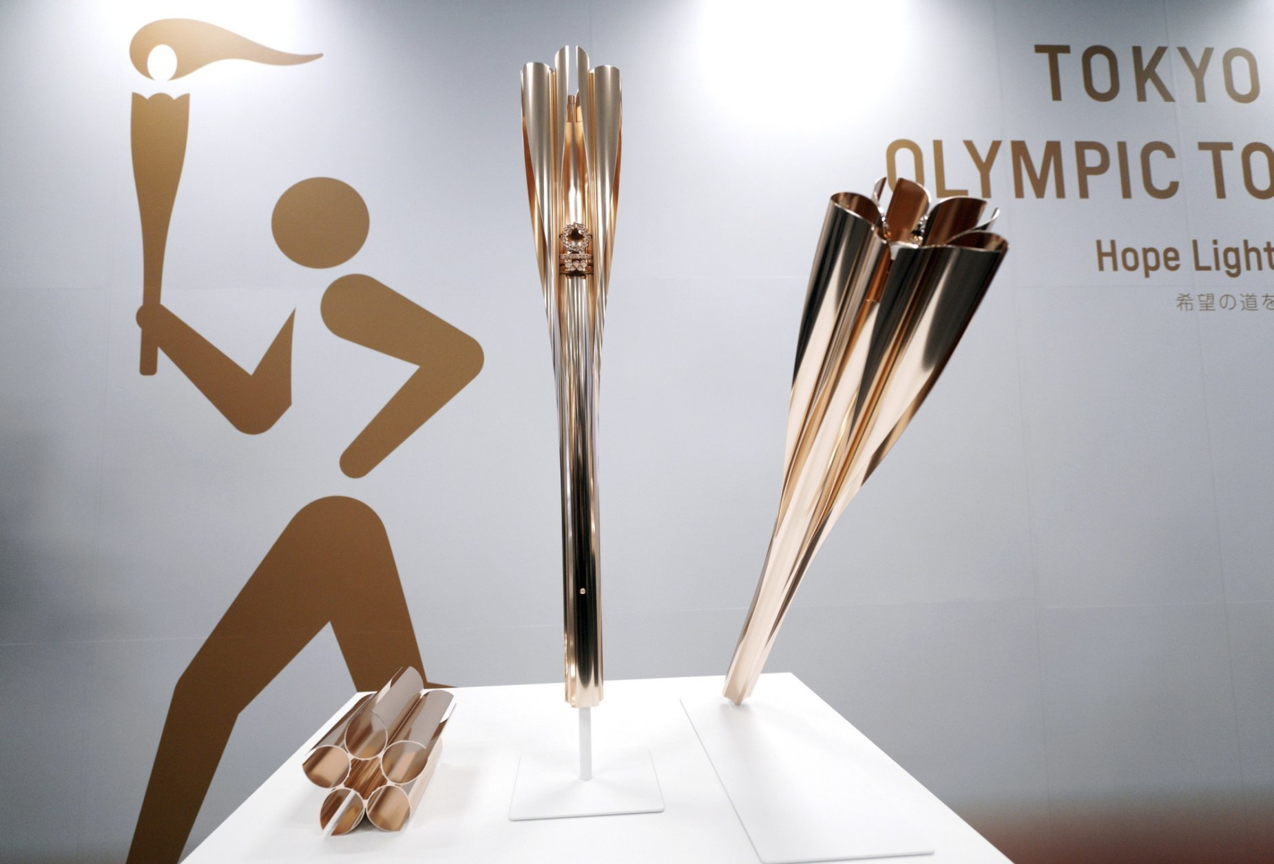 The Olympic torches of the Tokyo 2020 Olympic Games are displayed during a press conference in Tokyo Wednesday, March 20, 2019. The Tokyo Olympics open on July 24, 2020. (AP Photo/Eugene Hoshiko)