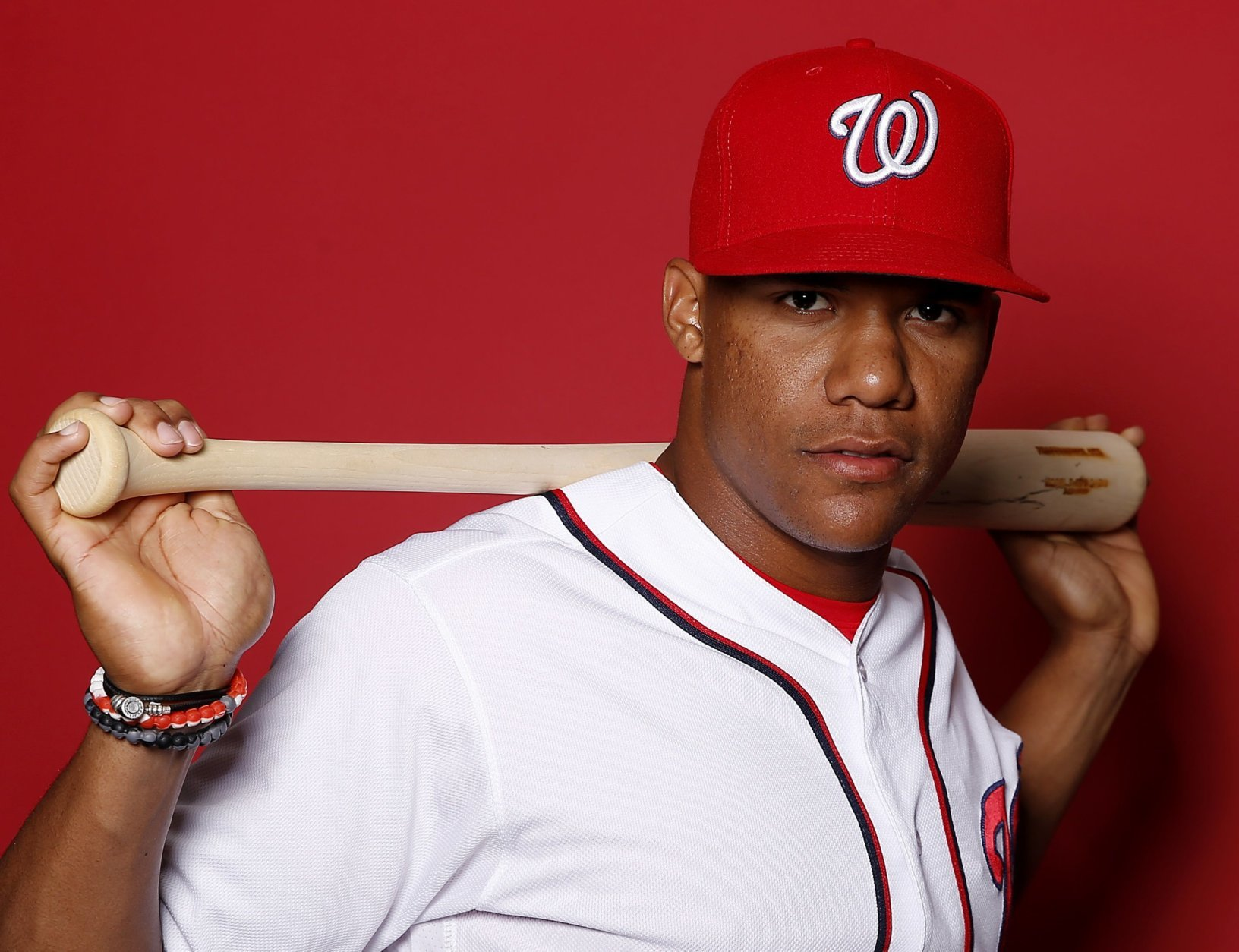 WEST PALM BEACH, FLORIDA - FEBRUARY 22:  Juan Soto #22 of the Washington Nationals poses for a portrait on Photo Day at FITTEAM Ballpark of The Palm Beaches during on February 22, 2019 in West Palm Beach, Florida. (Photo by Michael Reaves/Getty Images)