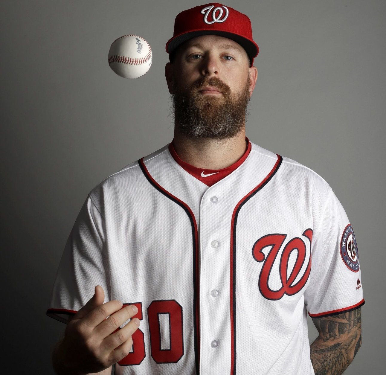 This is a 2019 photo of Justin Miller of the Washington Nationals baseball team. This image reflects the 2019 active roster as of Friday, Feb. 22, 2019, when this image was taken. (AP Photo/Jeff Roberson)