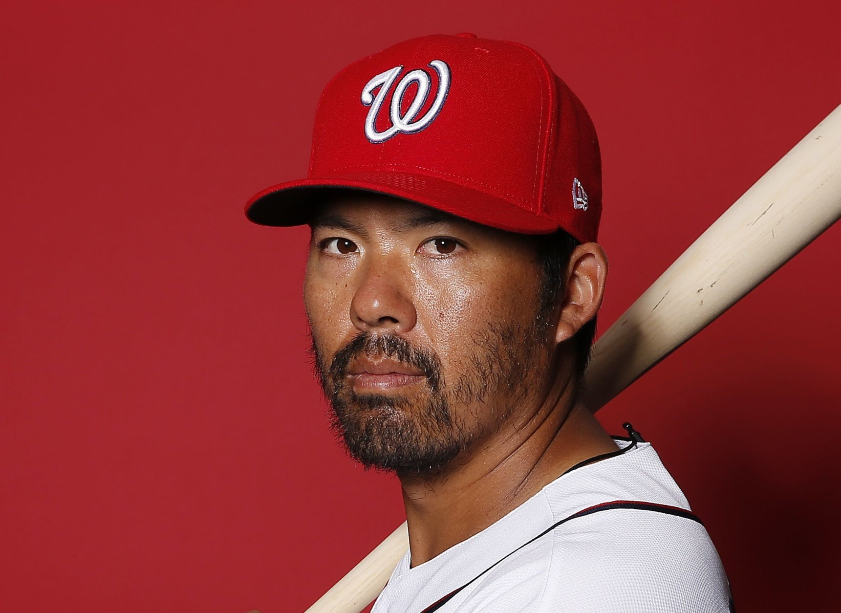 WEST PALM BEACH, FLORIDA - FEBRUARY 22:  Kurt Suzuki #28 of the Washington Nationals poses for a portrait on Photo Day at FITTEAM Ballpark of The Palm Beaches during on February 22, 2019 in West Palm Beach, Florida. (Photo by Michael Reaves/Getty Images)