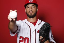 WEST PALM BEACH, FLORIDA - FEBRUARY 22:  Kyle Barraclough #20 of the Washington Nationals poses for a portrait on Photo Day at FITTEAM Ballpark of The Palm Beaches during on February 22, 2019 in West Palm Beach, Florida. (Photo by Michael Reaves/Getty Images)