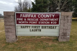 The B-Shift at Station 39 in North Point wanted to celebrate Lauryn's birthday too. (Courtesy Fairfax County Fire and Rescue)
