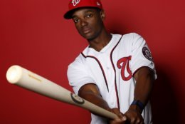 WEST PALM BEACH, FLORIDA - FEBRUARY 22:  Michael Taylor #3 of the Washington Nationals poses for a portrait on Photo Day at FITTEAM Ballpark of The Palm Beaches during on February 22, 2019 in West Palm Beach, Florida. (Photo by Michael Reaves/Getty Images)