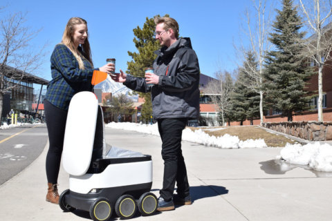 After landing at GMU, food delivery robots roll out at Flagstaff
