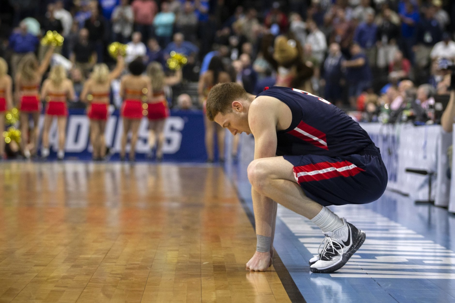 Belmont guard Dylan Windler reacts after missing a mid-court shot against Maryland as time expired in a first-round game in the NCAA men's college basketball tournament in Jacksonville, Fla. Thursday, March 21, 2019. (AP Photo/Stephen B. Morton)