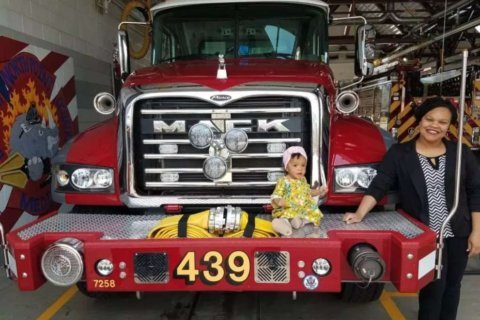 Fairfax Co. firefighters celebrate 1st birthday of baby they helped deliver