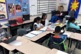 Students at J. Michael Lunsford Middle School work on a class assignment. (Courtesy Carrie Simms)
