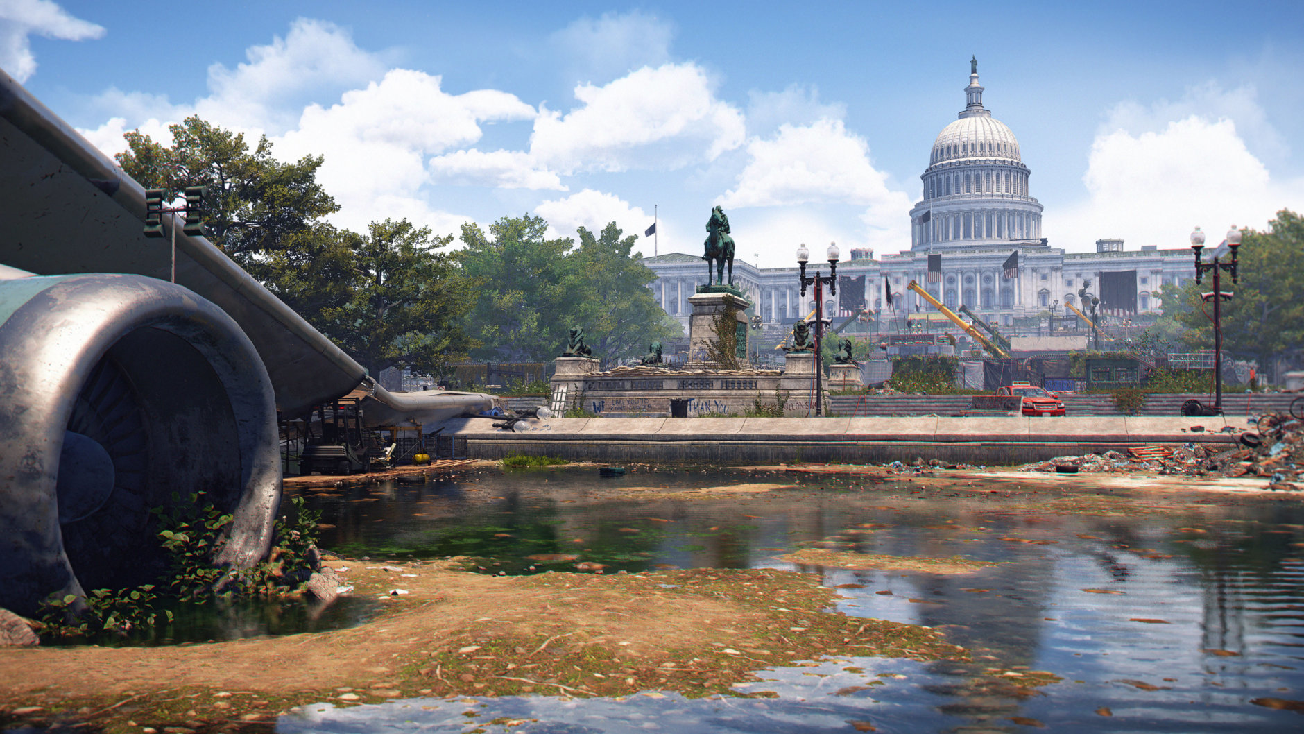 A long view of the Capitol Building in ruins in Division 2. (Courtesy Ubisoft/Massive)