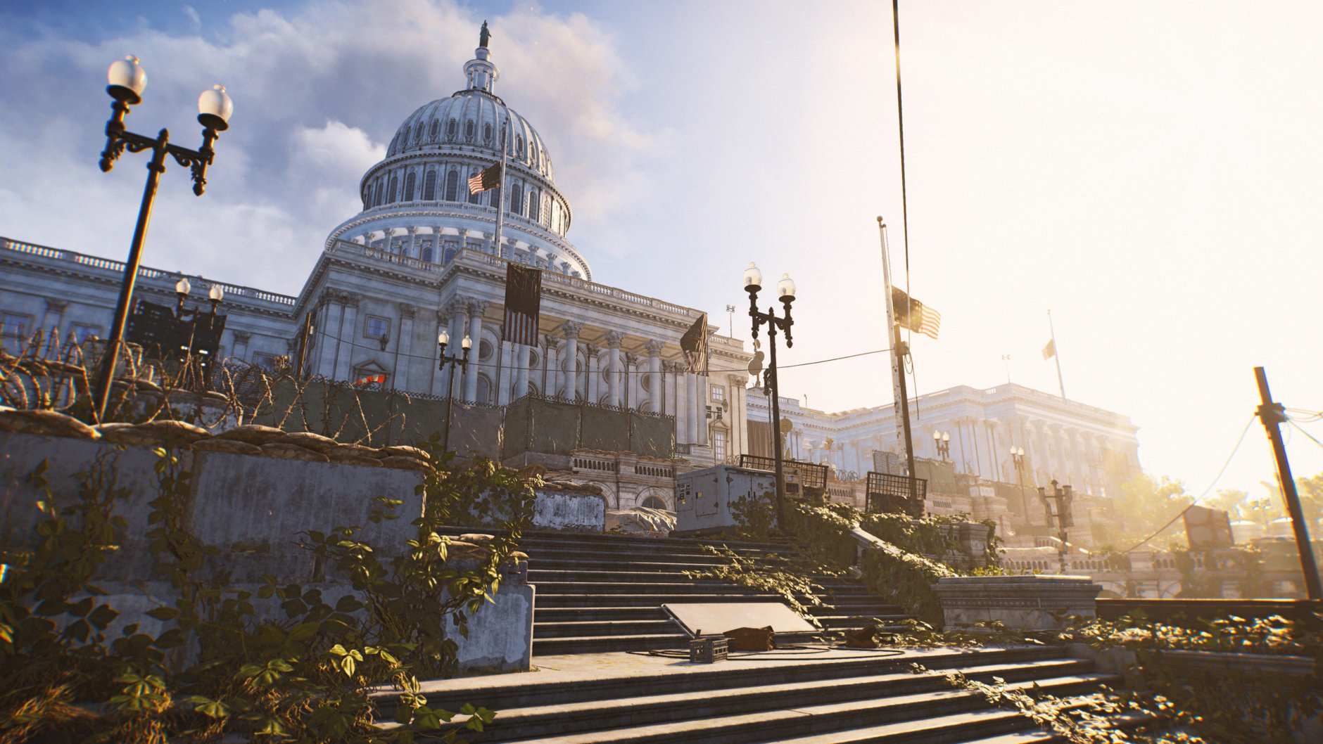 The Capitol Building is in ruins in Division 2. (A long view of the Capitol Building in ruins in Division 2. (Courtesy Ubisoft/Massive)