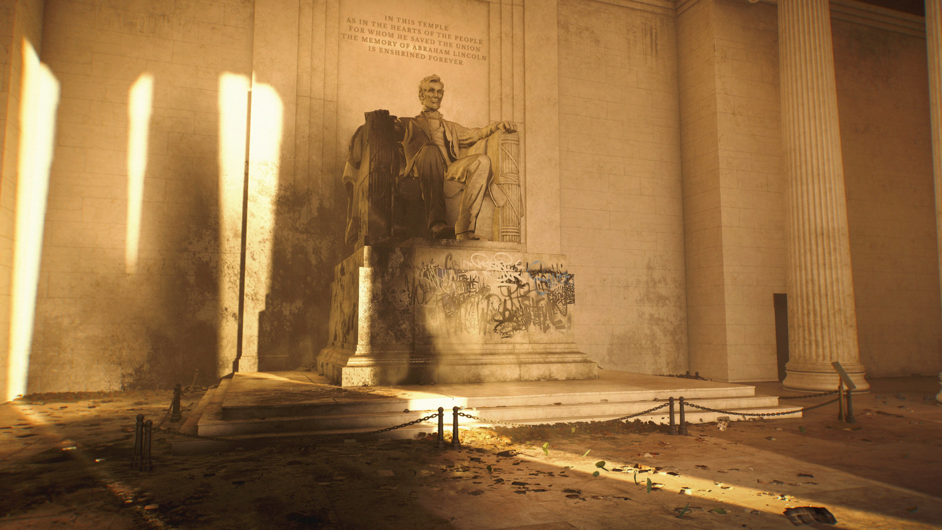 The Lincoln Memorial has seen better days in Division 2. (Courtesy Ubisoft/Massive)