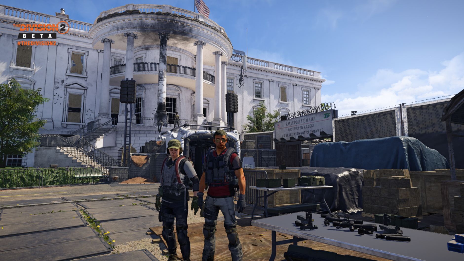WTOP's Reem Nadeem and her husband Will Vitka outside the White House in the Division 2 public beta. (WTOP/Ubisoft/Massive)