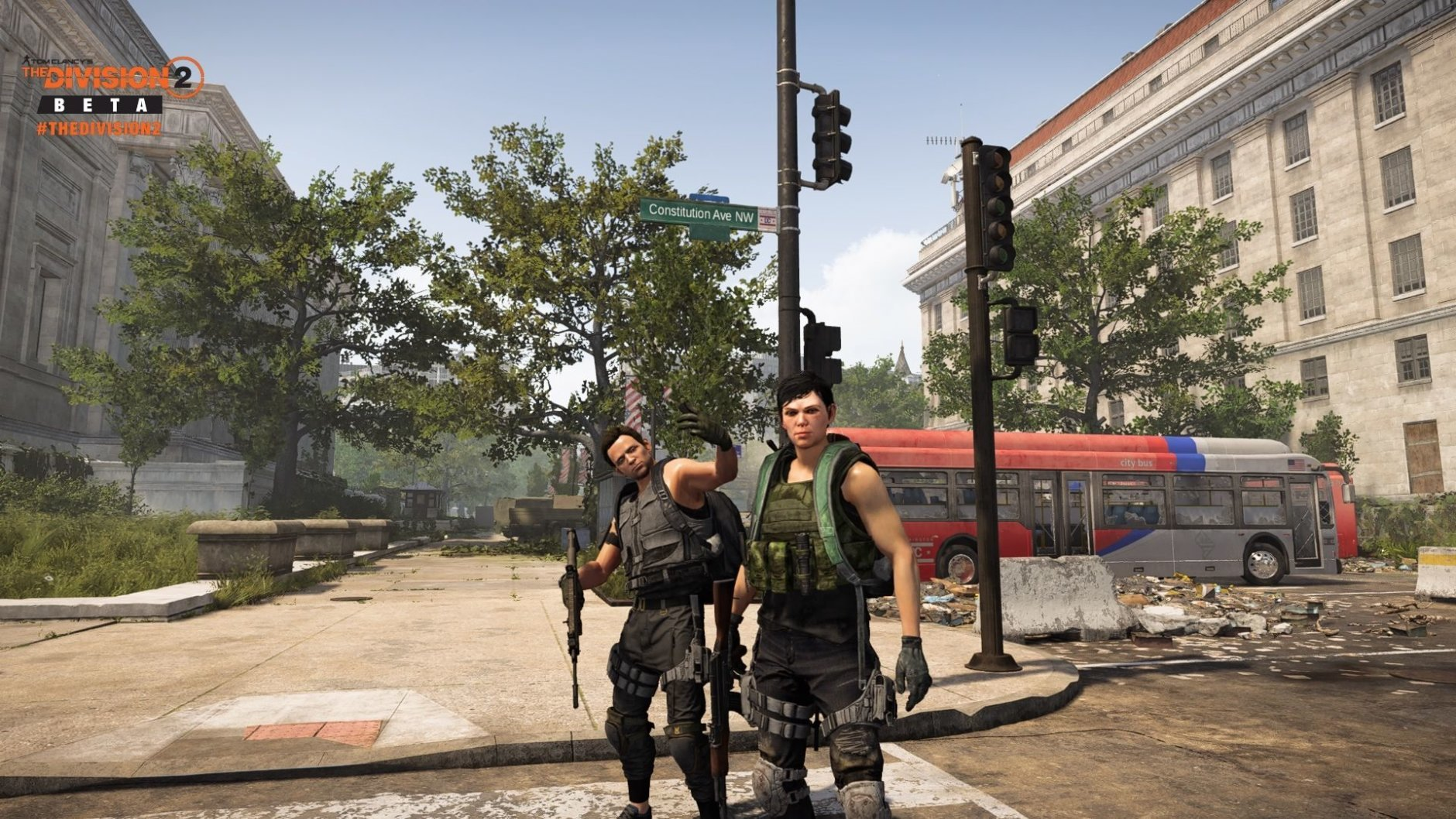 WTOP's Ginger Whitaker and her husband as their in-game counterparts in The Division 2. (WTOP/Ubisoft/Massive)