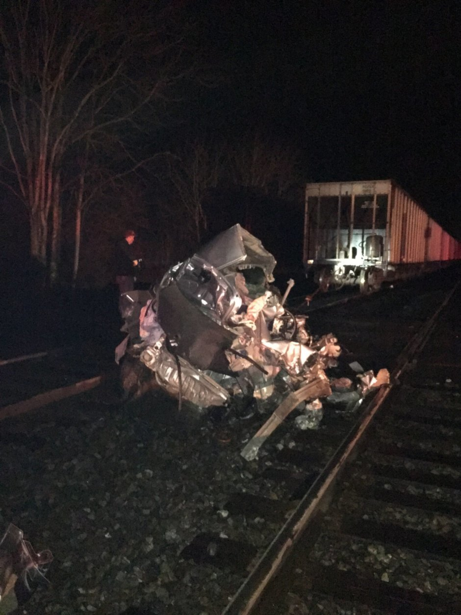 Wreckage of the 2008 Honda Civic that got stuck on railroad tracks with two trains approaching from opposite directions. (Courtesy Virginia State Police)