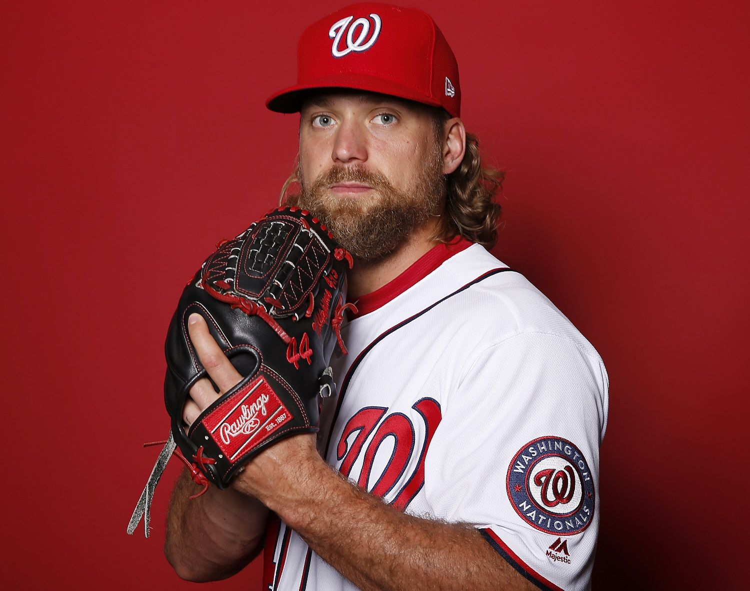 WEST PALM BEACH, FLORIDA - FEBRUARY 22:  Trevor Rosenthal #44 of the Washington Nationals poses for a portrait on Photo Day at FITTEAM Ballpark of The Palm Beaches during on February 22, 2019 in West Palm Beach, Florida. (Photo by Michael Reaves/Getty Images)