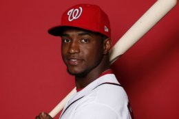 WEST PALM BEACH, FLORIDA - FEBRUARY 22:  Victor Robles #16 of the Washington Nationals poses for a portrait on Photo Day at FITTEAM Ballpark of The Palm Beaches during on February 22, 2019 in West Palm Beach, Florida. (Photo by Michael Reaves/Getty Images)