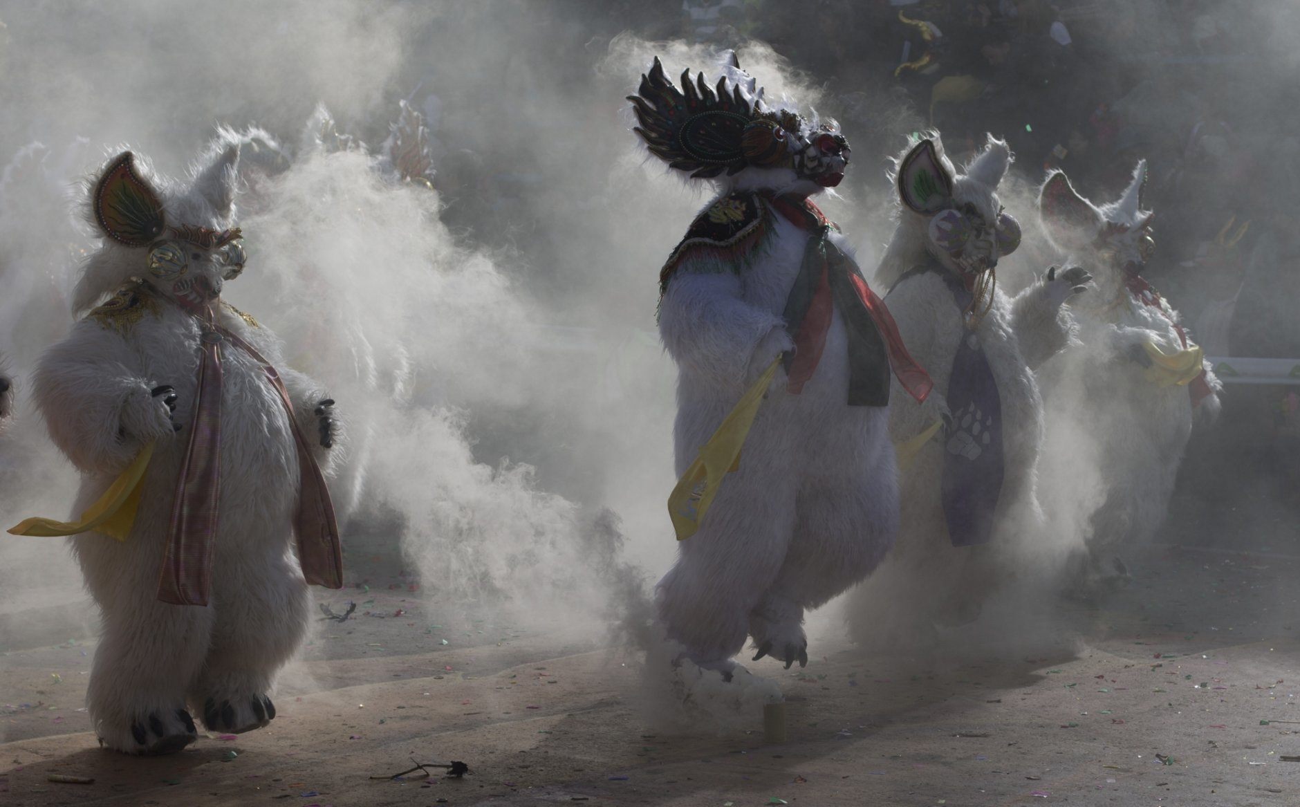 """Dancers perform the traditional """"Diablada,"""" or Dance of the Devils, during carnival celebrations in Oruro, Bolivia, Saturday, March 2, 2019. The festival features folk dances, costumes, crafts, music and up to 20 hours of continuous partying. (AP Photo/Juan Karita)"""
