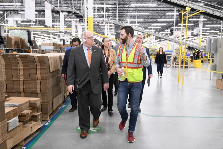 Amazon opens new Maryland warehouse; Hogan still pitching for HQ2