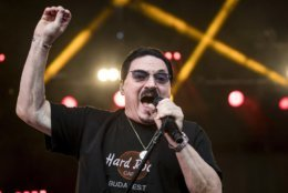 In this Aug. 8, 2017 photo US singer Bobby Kimball performs during the concert of Hungarian-born German musician Leslie Mandoki's all-star formation ManDoki Soulmates in Budapest Park in Budapest, Hungary.  (Balazs Mohai/MTI via AP)