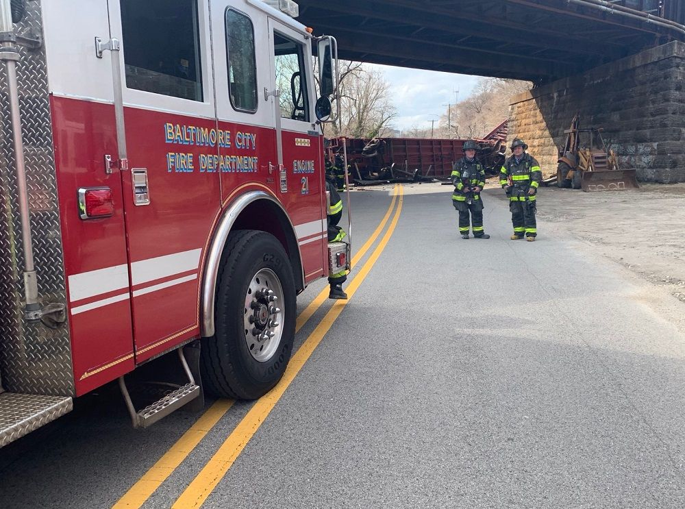 No one was injured after nine train cars derailed in Baltimore, Maryland, on Friday. (Courtesy Baltimore City Fire Department)
