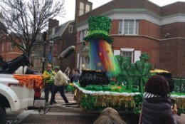 One of the floats featured in the St. Patrick's Day parade in Annapolis. (WTOP/Liz Anderson)