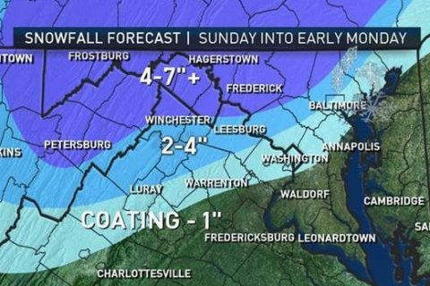 Atmospheric 'tug of war' to bring wintry mix into DC area on Sunday